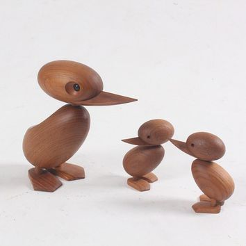 Creative Home Living Room Decoration Natural Wooden Duck Mother and Baby Doll Kids Toys Animal Art Crafts Ornaments Accessories