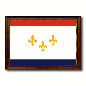 New Orleans  City Louisiana State Flag Canvas Print Brown Picture Frame