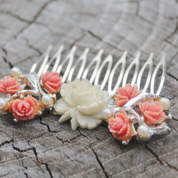 Vintage Celluloid Coral and Ivory Rose Hair Comb with Pearl - Bridal, Wedding, Prom