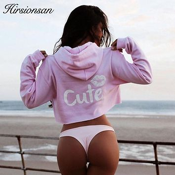 Hirsionsan Women Hoodies 2017 Autumn New Long Sleeve Crop Tops Casual Hooded CUTE Lip Printed Sweatshirts Pink Moletom Feminino