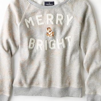 AEO 's Merry & Bright Sweatshirt (Medium Heather Grey)