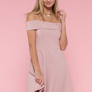 Retro Off Shoulder Dress - Mauve
