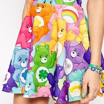 Ichiban Mini Skater Skirt With All Over Care Bear Print Co-Ord