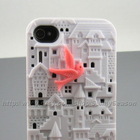 IPhone 4 Case, iPhone 4s Case, White 3D European Style Building Castle Hard iphone Case,With a Cute Pink Bird