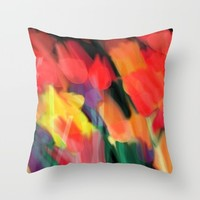 Meadow Flowers At Night Abstract Throw Pillow by Jen Warmuth Art And Design