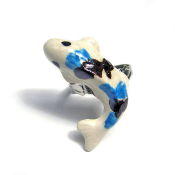 Ceramic Koi Fish Ring Blue Black and White by SovereignSea on Etsy
