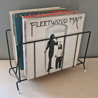 Mid Century Black Record Rack, Magazine Holder, Vinyl Organizer, Metal Vintage Room Decor