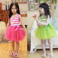 4 Colors New Girls Baby Striped Lace Princess Dress 5 pcs/lot Girls Children's Summer Fashion Sleeveless Lace TUTU Dress With Bow Silk