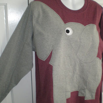 Long sleeve elephant tee shirt, burgundy heather, adult size medium, elephant trunk sleeve