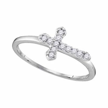 10kt White Gold Womens Round Diamond Cross Faith Band Ring 1/8 Cttw
