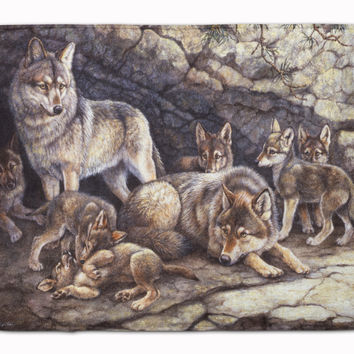 Wolf Wolves by the Den Machine Washable Memory Foam Mat BDBA0157RUG