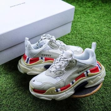 GUCCI x Balenciaga Triple-S 17FW Retro Sneaker White Red Shoes  - Best Online Sale