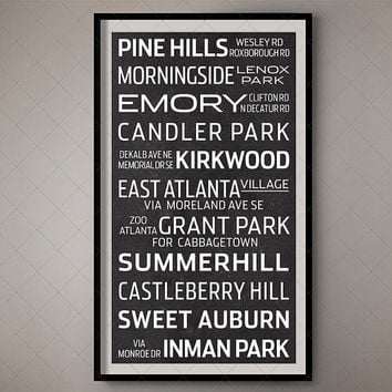 Atlanta, Georgia Bus List Print - Subway Sign / Transport Art 3