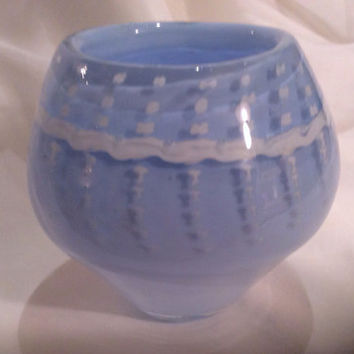 Blue and White Hand Blown Glass Bowl.  Hand Blown Glass Art Bowl.  Blue Eyelet Lace Pattern Bowl.