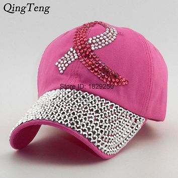Colored Ribbon Women Studded Crystals Rhinestones Sequins Baseball Cap Pink  Swag Fashion Bling Casual Hat Female Outdoor Hats