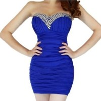Women's Bling Short Prom Tunic Gown Strapless Clubwear Evening Dress