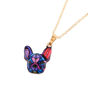 2016 New Fashion Colorful Animal Necklace French Bulldog Necklace Puppy Dog Necklaces for Women