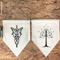 Arwen Evenstar Aragorn White Tree of Gondor Wall Flag Set And softwood and jute/ twine, Lord of the Rings Wedding Banners, pennant, banner,