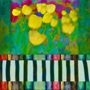 Yellow Tulips Abstract Art by Ann Powell