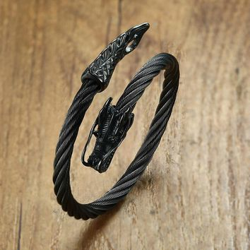 Twisted Cable Dragon Cuff Bracelet for Men Stainless Steel Open Lock Elastic Adjustable Bangle Male Jewelry Silver Tone Black