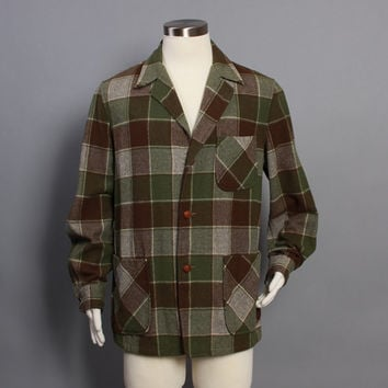60s Men's PENDLETON JACKET / 49er Style Green & Brown PLAID Blazer, L