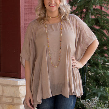 Make Them Wonder Bohemian Tunic With Lace Accents ~ Taupe ~ Sizes 4-10