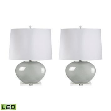 307G/S2-LED Blown Glass Oval LED Table Lamp In Grey - Set of 2