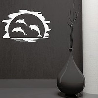 Wall Sticker Vinyl Decal Dolphin Marine Ocean Decor Bathroom (ig1132)