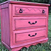 Melon Pink Vintage Nightstand/ Side, End Table  by AquaXpressions
