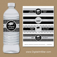 High School Graduation Party Decorations, PRINTABLE College Graduation Water Bottle Labels, Silver Black Water Bottle Sticker Download G1