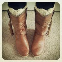 Crochet Boot Cuffs - Cream