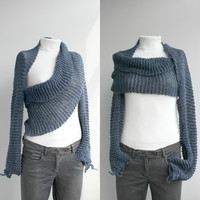 Free Shipping Long sleeve Indigo Denim Blue  Bolero Scarf Shawl Neckwarmer Gift Under 100 Valentines Day Gift