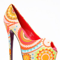 Red Kiss Brown Paisley Peep Toe Heel