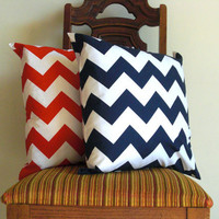 Red Navy blue pillow covers 20 x 20  Decorative modern chevron white red crimson scarlet Riley Blakezig zag cotton Handmade Set of TWO