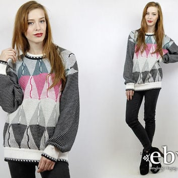 Cosby Sweater Oversized Sweater Graphic Sweater Oversized Knit Black Sweater 90s Sweater Fresh Prince Sweater Oversized Jumper