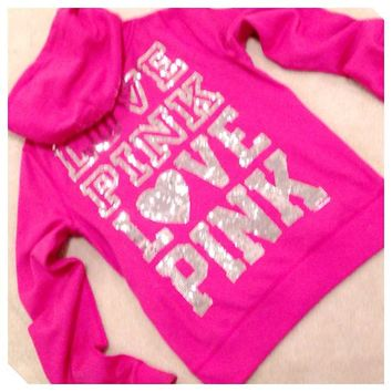 Victoria Secret Pink Sequin Bling Hoodie Jacket Sweatshirt