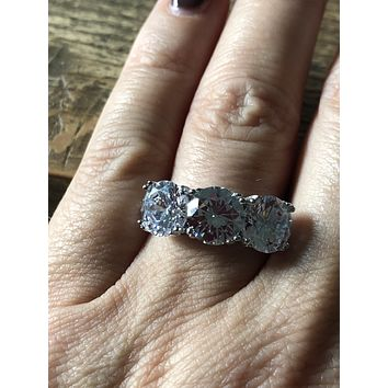 A Flawless 6TCW Three Stone Journey Russian Lab Diamond Ring