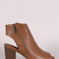 Breckelle Zip Up Peep Toe Chunky Mule Heeled Booties