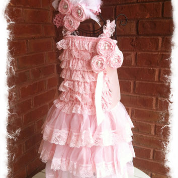 Baby Pink Petti Lace Romper Dress with Tan Chiffon Ruffles-Shabby Chic Petti Romper Dress Set-Sz 2T,3T,4T,5T