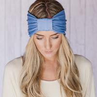 Sparrow Headband in Soft Blue Stretchy Jersey Hair Band Ruched with Fabric Wrap