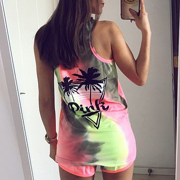 """Pink"" Victoria's Secret Pattern Print Multicolor Shirt Top Tee Vest Shorts"