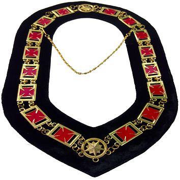 Knights Templar Formée Pattée cross - Masonic Chain Collar - Gold/Silver on Black + Free Case