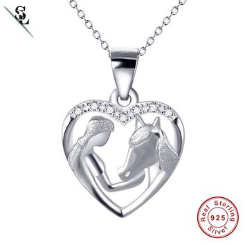 Silver 925 Jewelry Girl Feeding Horse Pendant Necklace Heart Women Collar Woman Fine Jewelry caballo collana signora SUMMER LOVE