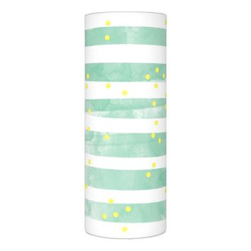 Watercolor Abstract Polka Dots Stripes Pattern Flameless Candle