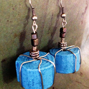 Wire Wrapped Blue Paper Bead Earrings // Tropical blue earrings // Lightweight earrings