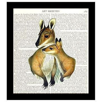 Kangaroo Dictionary Art Print 8 x 10 Mother and Child Family
