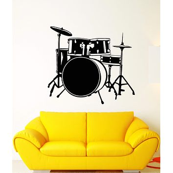 Vinyl Wall Decal Drum Kit Drummer Music Musician Musical Instrument Stickers Unique Gift (1770ig)