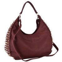 MG Collection NARCISSA Burgundy Red Oversized Gothic Studs Hobo Shoulder Bag