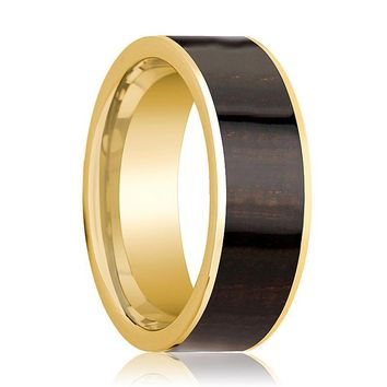 Mens Wedding Band Polished 14k Yellow Gold Flat Wedding Ring with Ebony Wood Inlay - 8mm