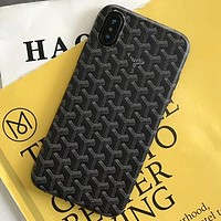 Goyard Tide brand simple iphoneX mobile phone case soft shell cover black
